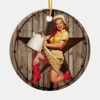 rustic BarnWood texas star western country cowgirl Round Ceramic Decoration
