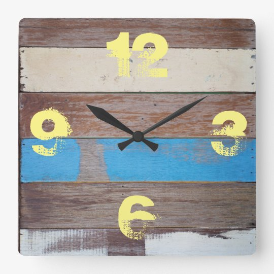 Rustic Barnyard Blue Painted Wood. Square Wall Clock