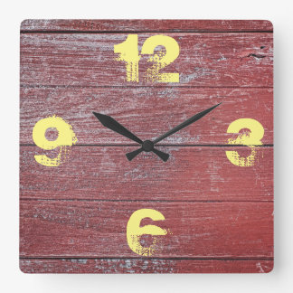 Rustic Barnyard  Red Painted Wood. Square Wall Clock