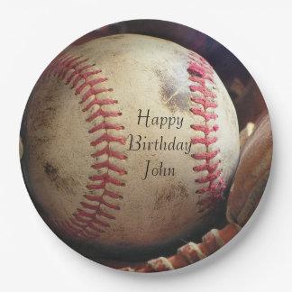 Rustic Baseball Happy Birthday Name Plates
