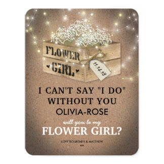 Rustic Be My Flower Girl | Elegant Twinkle Lights Card
