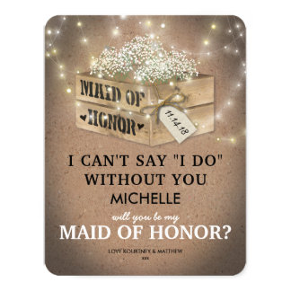 Rustic Be My Maid of Honor | Elegant Twinkle Light Card