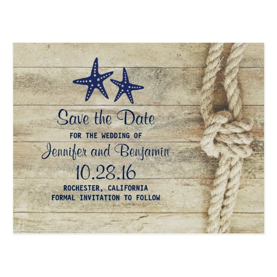 rustic beach driftwood nautical save the date postcard