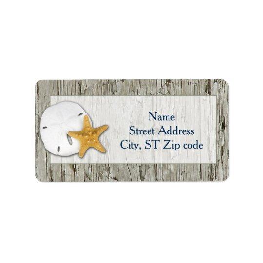 Rustic Beach Driftwood Sand Dollar Wedding Address Label