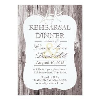 Rustic Beach Driftwood Starfish Rehearsal Dinner 13 Cm X 18 Cm Invitation Card