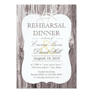 Rustic Beach Driftwood Starfish Rehearsal Dinner Card