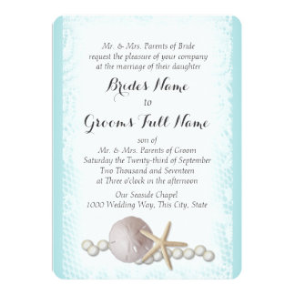 "Rustic Beach Lace and Pearls 5"" X 7"" Invitation Card"