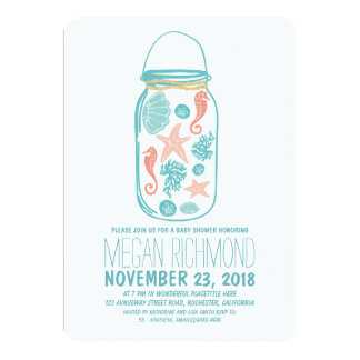 Rustic Beach Mason Jar Seaside White Baby Shower Card