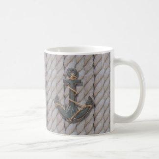 rustic beach ropes navy anchor nautical basic white mug