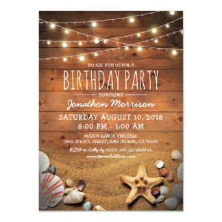 Rustic Beach Tropical Nautical Birthday Party Card