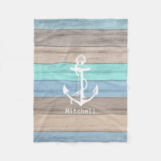 Rustic Beach Wood Nautical Stripes & Anchor Fleece Blanket