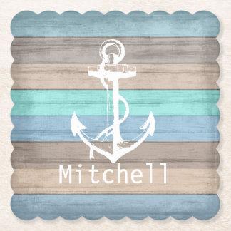Rustic Beach Wood Nautical Stripes & Anchor Paper Coaster