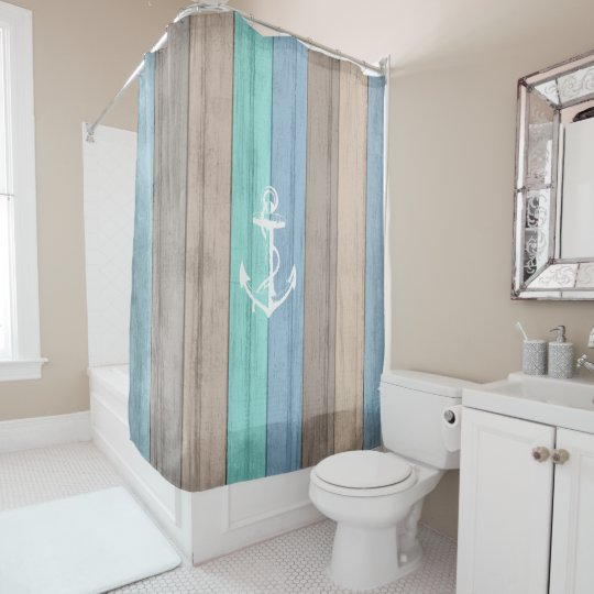 Rustic Beach Wood Nautical Stripes & Anchor Shower Curtain
