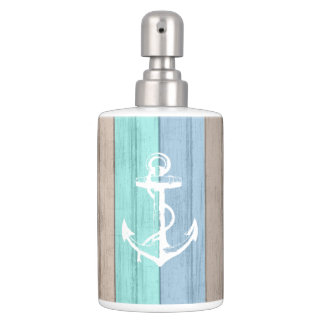 Rustic Beach Wood Nautical Stripes & Anchor Soap Dispenser And Toothbrush Holder