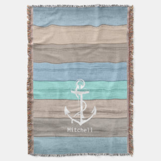 Rustic Beach Wood Nautical Stripes & Anchor Throw Blanket