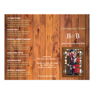 Rustic Bed and Breakfast Trifold Brochure Cherry