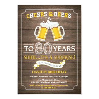 Rustic Beer Surprise 80th Birthday Invitation
