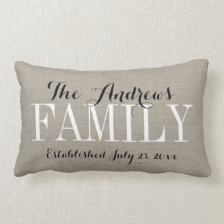 Rustic Beige Family Monogram and Wedding Date Lumbar Cushion
