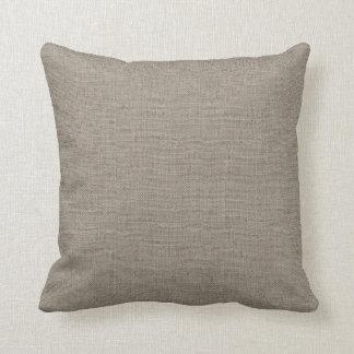 Rustic Beige Faux Burlap Accent Pillow