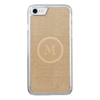 Rustic Beige Linen Background Monogram Carved iPhone 8/7 Case