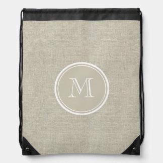 Rustic Beige Linen Background Monogram Drawstring Bag