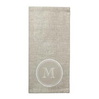 Rustic Beige Linen Background Monogram Napkin