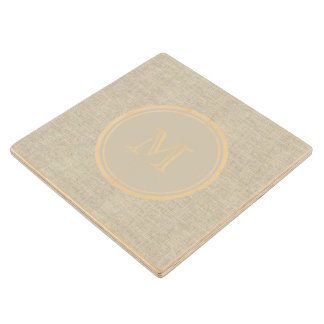 Rustic Beige Linen Background Monogram Wood Coaster