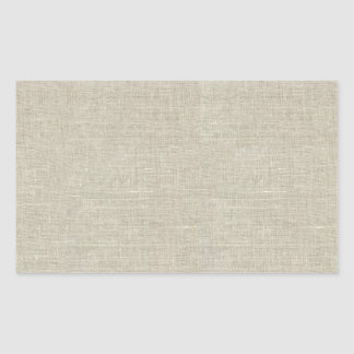 Rustic Beige Linen Printed Rectangular Sticker