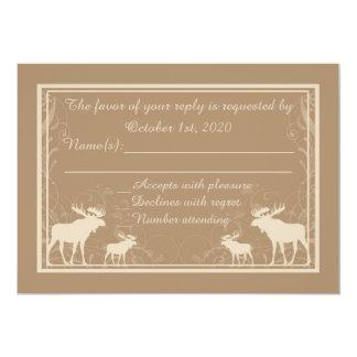 Rustic beige moose swirl custom RSVP cards 13 Cm X 18 Cm Invitation Card