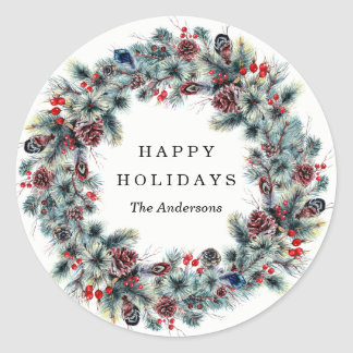 Rustic Berries and Pine | Holiday Stickers
