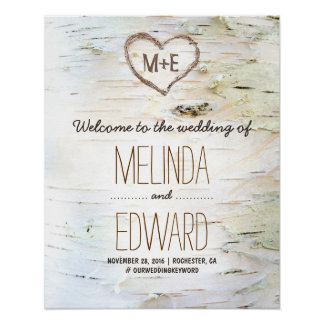 Rustic Birch Bark Heart Wedding Welcome Sign Poster