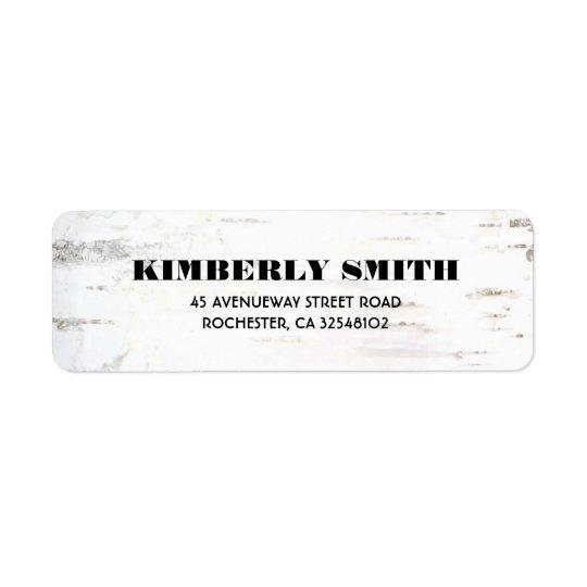 Rustic Birch Bark Texture Wedding Return Address Label