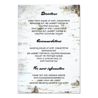 Rustic Birch Bark Wedding Details- Information Card