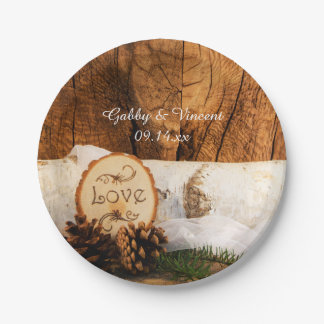 Rustic Birch Tree and Barn Wood Wedding 7 Inch Paper Plate