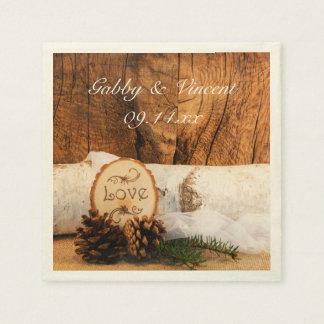 Rustic Birch Tree and Barn Wood Wedding Disposable Serviette