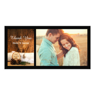 Rustic Birch Tree and Barn Wood Wedding Thank You Custom Photo Card