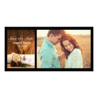 Rustic Birch Tree Barn Wood Wedding Save the Date Card