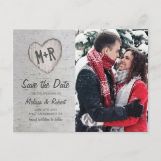 Rustic Birch Tree Photo Save The Date Invitation Postcard