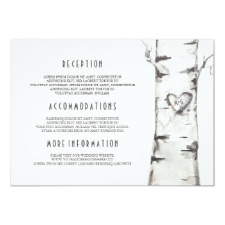Rustic Birch Tree Watercolor Wedding Information Card
