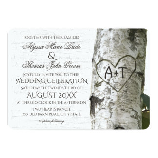 Rustic Birch Tree Wedding with Carved Heart Card