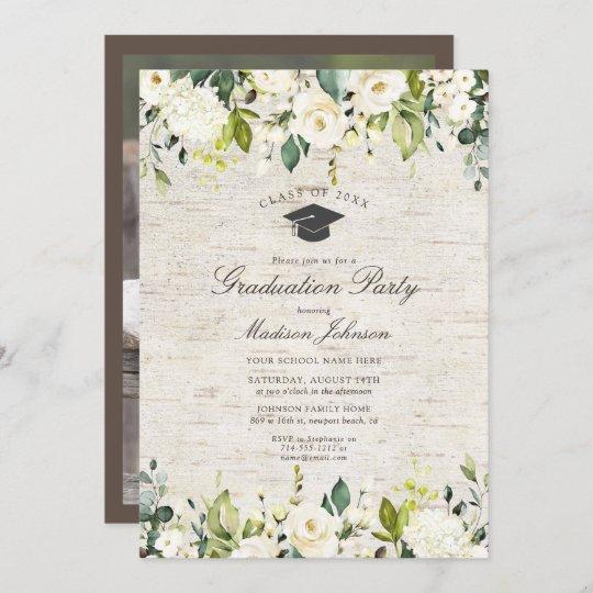 Rustic Birch White Floral Photo Graduation Party Invitation