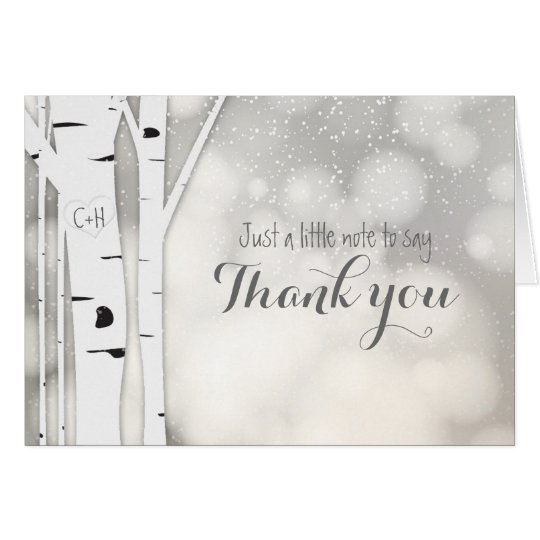 Rustic Birch Winter White Snow Thank You Fold Card