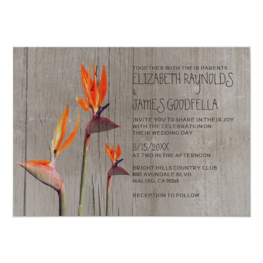 Rustic Bird of Paradise Wedding Invitations