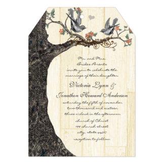 Rustic Birdcage Peach Gray Vintage Birds Wedding Personalized Invite