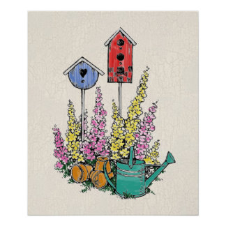 Rustic Birdhouse Garden Watercolor Sketch Poster