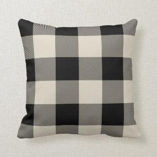 Rustic Black and Beige Buffalo Check Plaid Cushion