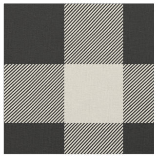 Rustic Black and Beige Buffalo Plaid Fabric