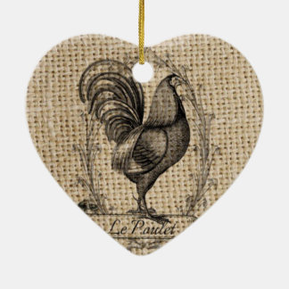 rustic black and grey rooster design on burlap ceramic heart decoration