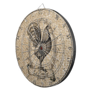 rustic black and grey rooster design on burlap dart boards