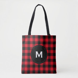 Rustic Black and Red Plaid Pattern Monogram Tote Bag